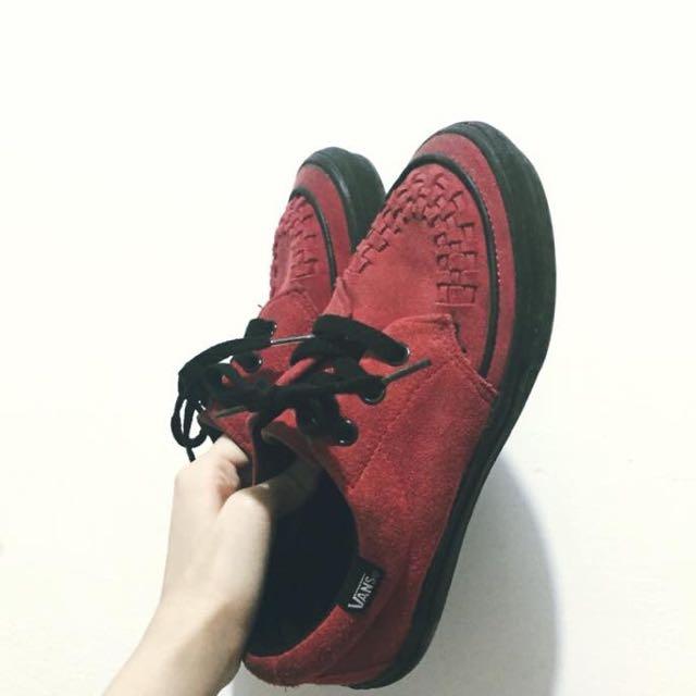 Vans 復古 紅色編織帆布鞋 23.5
