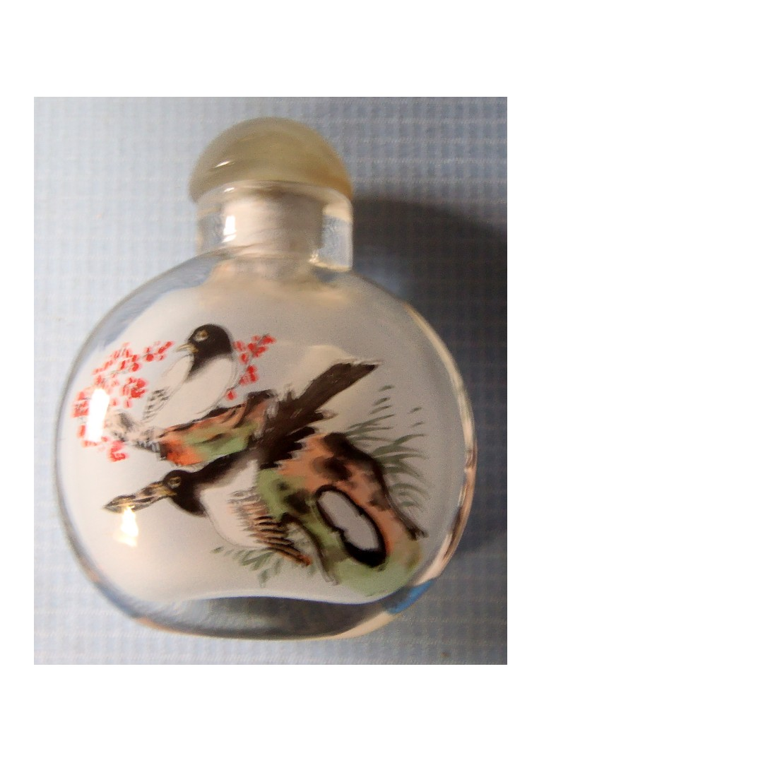 Vintage Reverse Hand Painting Of Birds Inside Glass Bottle Circa 1970s Vintage Collectibles Vintage Collectibles On Carousell