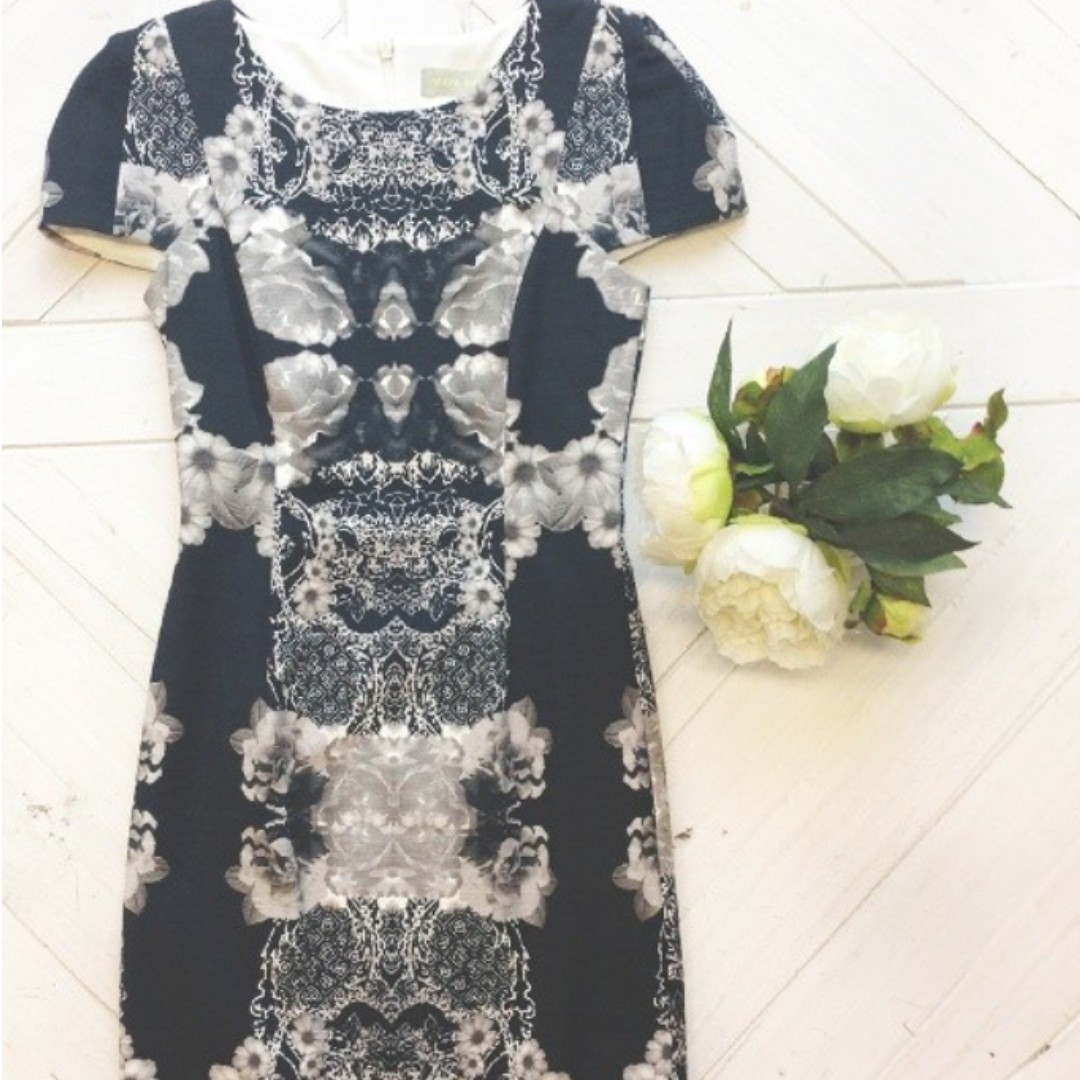 White Suede Box shoulder floral dress