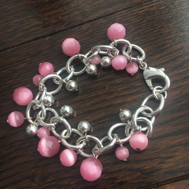Women's pink and silver bracelet