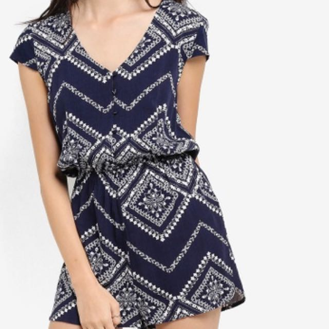 b4d17f592e7 ZALORA Love Button Front Playsuit with Cap Sleeves