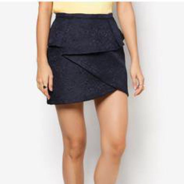 Zalora Textured Origami Skirt In Navy Womens Fashion Clothes