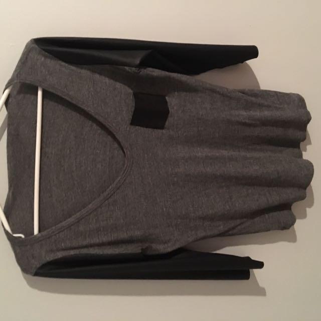 Zara faux leather sleeve shirt top