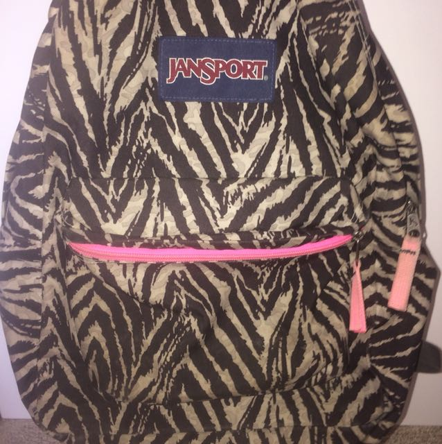 Zebra print jansport bag