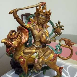 Tibetan Manjushri Buddha with Male Lion Statue, 藏传文硃菩萨像