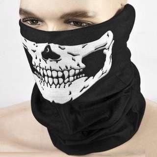 Black Skull Mask Bandana Bike Motorcycle Helmet Neck Face Mask 全新單車滑雪行山電單車 WAR GAME骷髏頭巾防風防隔油頸巾