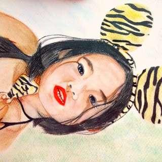 portrait, charcoal pencil, watercolor, watercolor pencil, painting
