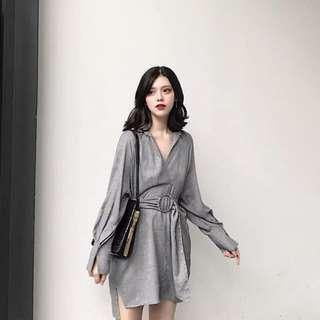 灰色格仔連身裙連腰帶 Grey checked onepeice dress with belt