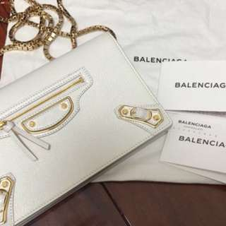 Balenciaga White Cross Body Bag WOC wallet on chain city ***No Bargain or Exchange on this item***