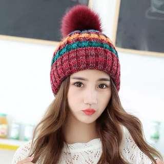🚚 甜美可愛百搭毛球毛帽