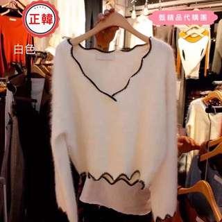 🚚 [正韓]秋冬新款純色長袖波浪邊V領套頭短版馬海毛毛衣