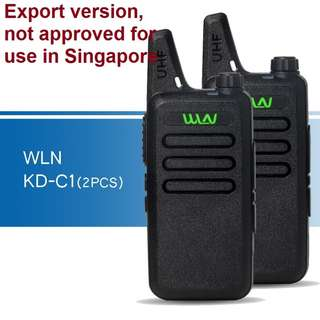 New stock, 2 pcs (1 pair) New model, military grade! WLN KD-C1 Mini UHF 400-470 MHz Handheld Transceiver Two Way Radio Walkie Talkie Export Set