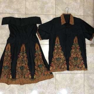 Batik couple dress black dan kemeja pria