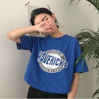 Oversized korean ulzzang blue havericks tee