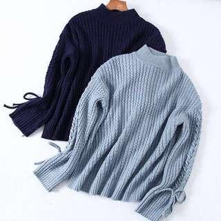 OshareGirl 12 歐美純色針織花型綁帶造型設計毛衣針織上衣