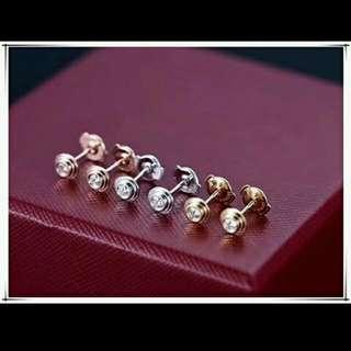 出口品牌純銀鑲石耳環