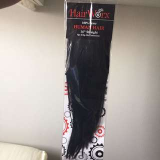 "100% remy human hair 14"" straight clip on extensions"