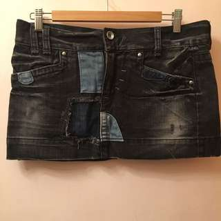 Miss Sixty Patch Denim mini skirt