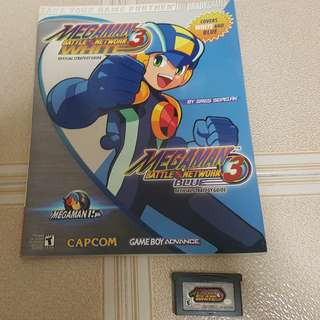 Megaman battle network 3 White game cartridge + Guide book for GBA Original