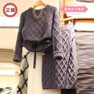 [正韓]秋冬裝新款圓領套頭針織長袖毛衣+時尚彈性鬆緊腰包臀半身裙 二件式套裝