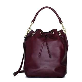 ARITZIA - AUXILIARY - MANDER BURGUNDY BUCKET BAG SATCHEL (PRELOVED)