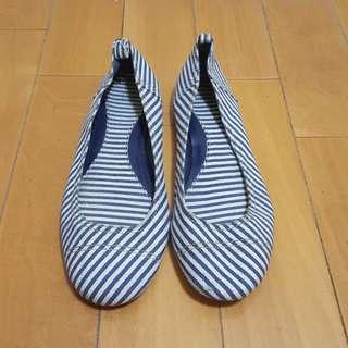 GAP 藍白條紋帆布平底鞋 (39/24.5)