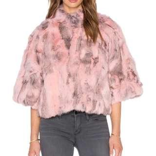 Pink rabbit fur (real fur, vintage) coat for sale