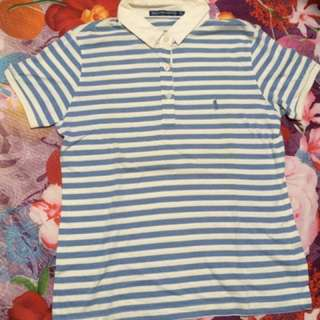 [NEW] Blue and White Stripes Polo Shirt