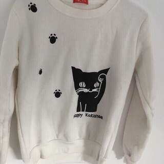 White Sweatshirt Kitty Kawaii Happy Kakamee