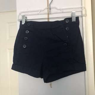 Navy blue buttoned shorts
