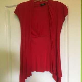red sleeveless cardigan