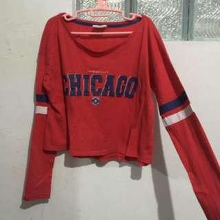 CHICAGO SWEATSHIRT COTTON ON RED BASEBALL SHIRT