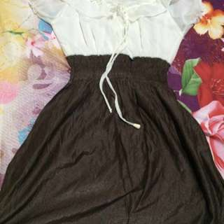 [NEW] White and Brown Colored Mini Dress