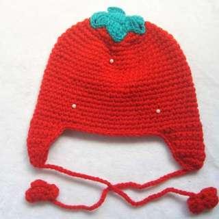 清倉價--草莓造型冷帽 毛線帽 兒童bb帽