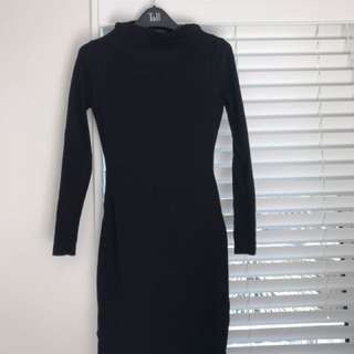 Black Long Sleeve Cutout Dress