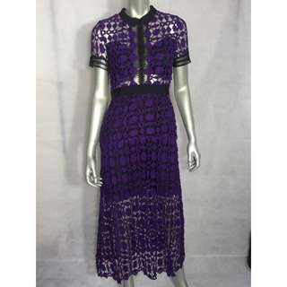 Purple Ultra Violet Lace Sheer See-through Split Midi Maxi Dress Celeb