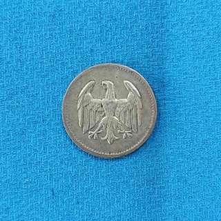 Germany Weimar Republic: 1924 WEIMAR GERMANY MARK SILVER COIN, SCARCE!