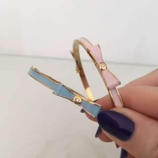 Pair of Kate spade inspired bow enamel and crystal bangle bracelet