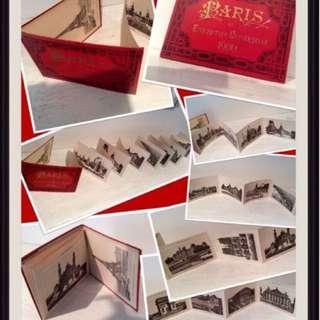 Paris Exposition Universelle 1900 - Album of 12 pages with 12 accordion views of Paris