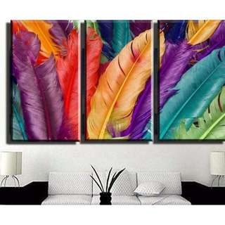 In stock - Colorful feathers Canvas Painting