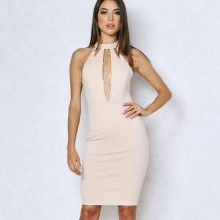 Beige Cutout Plunge Bodycon Dress