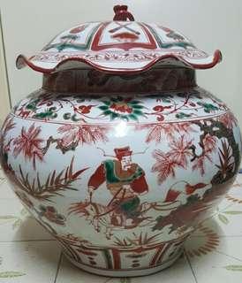 蕭何月下追韓信 100%真金描金大罐 古董拍賣品 全國只得一個