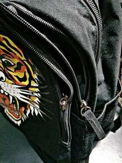 ED hardy印花虎王雙層中背包-黑色