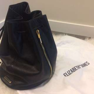 Elizabeth and James Leather Drawstring Bag (Black)