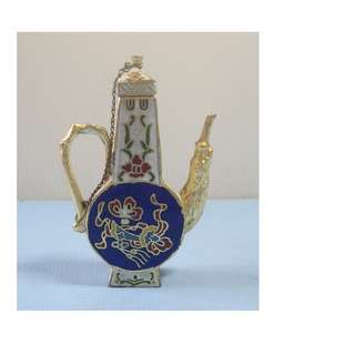 Antique small cloisonne wine pot hand made in Beijing retired circa 1960s unused