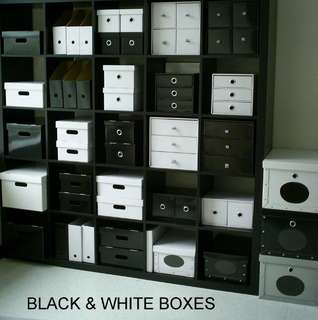 Black & White recycled paper boxes (D.I.Y.)