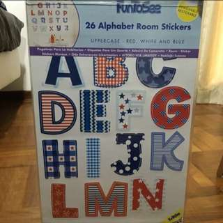 Super Sales!!! BNIP FunToSee 26 Uppercase Alphabet Room Stickers from UK