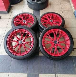 Oz racing italia 16 inch sports rim saga flx tyre 70%.