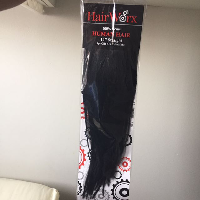 """100% remy human hair 14"""" straight clip on extensions"""