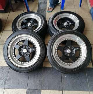 Work miestar cr01 15 inch sports rim myvi tyre 70%